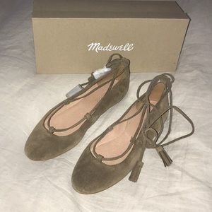 Madewell Lace-up suede flats